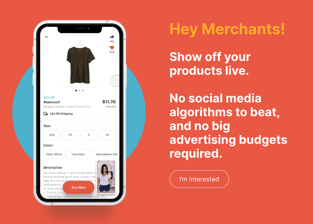 Spin Live Shoppable Video App